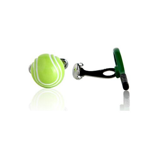 Cracked Pepper Tennis Racquet and Ball Cufflinks