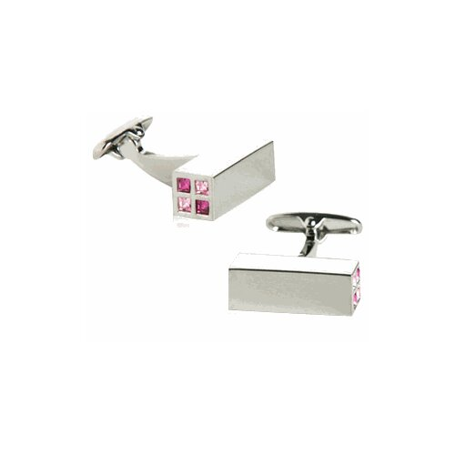 Austrian Crystal Highlights Cufflinks in Pink (Set of 2)