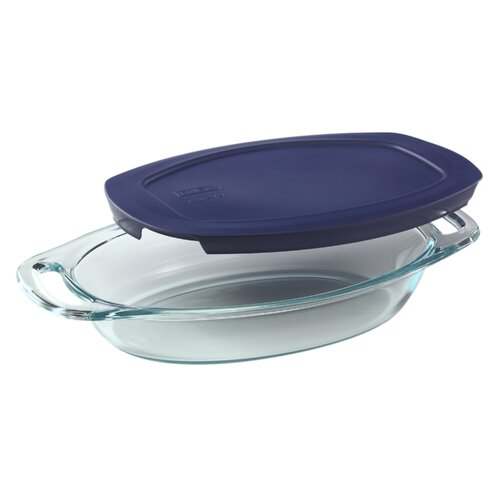 Easy Grab 1.3 Qt Oval Dish with Blue Plastic Cover