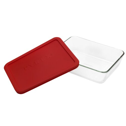 Storage Plus 6-Cup Rectangle Storage Dish with Red Plastic Cover