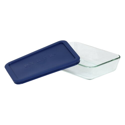 Storage 3-Cup Rectangular Dish with Plastic Cover