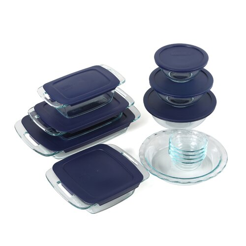 Pyrex Easy Grab 19 Piece Bakeware Set with Plastic Cover