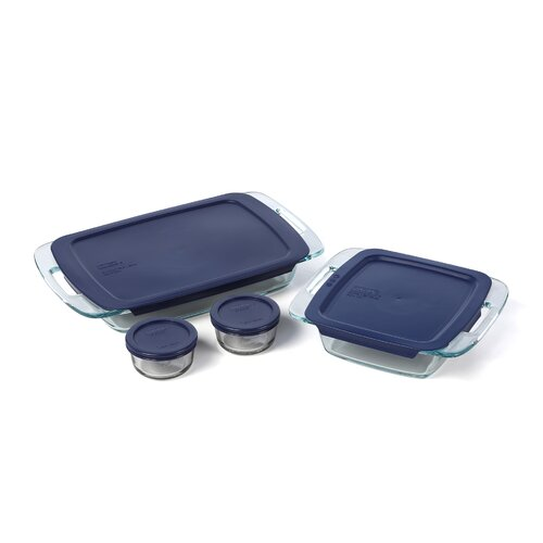 Pyrex Easy Grab 8 Piece Bakeware Set with Plastic Cover