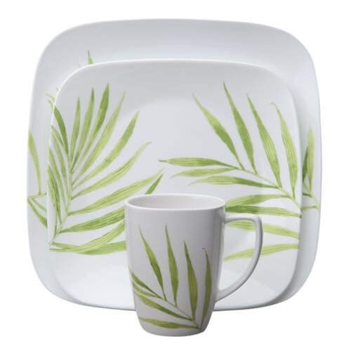 Square Bamboo Leaf 16 Piece Dinnerware Set