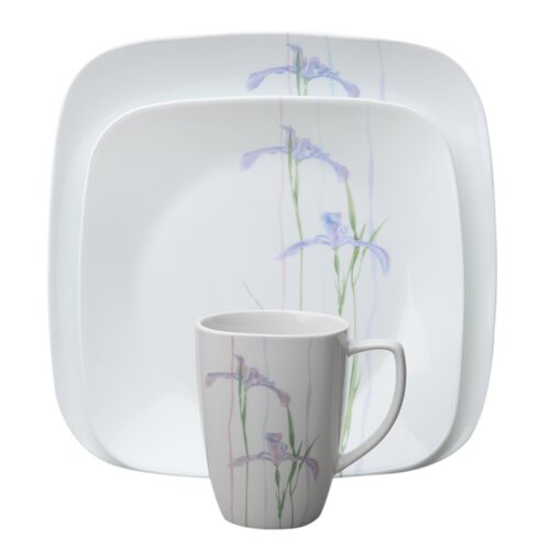Square Shadow Iris 16 Piece Dinnerware Set