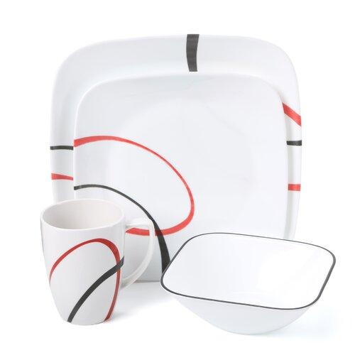 Square Fine Lines 16 Piece Dinnerware Set