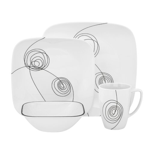 Scribble Lines 16 Piece Dinnerware Set