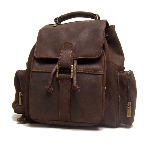 Distressed Leather Multi Pocket Backpack