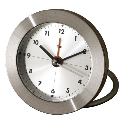 Bai Design Diecast Round Travel Alarm Clock with Arabic Numerals