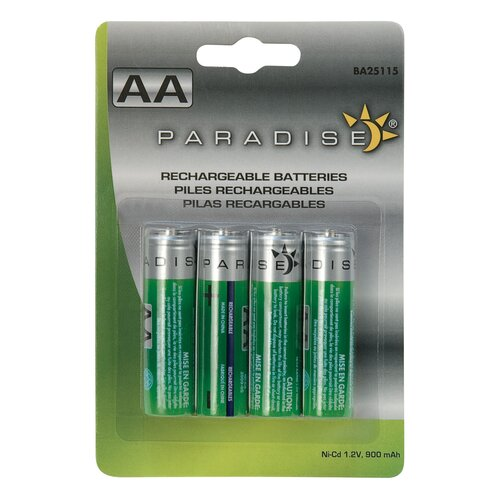 4 Pack AA 900 mAh Ni-Cd Batteries