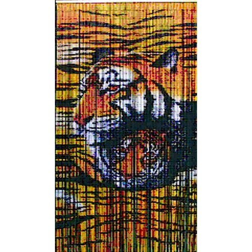 Bamboo54 Natural Bamboo Tiger Design Curtain Single Panel