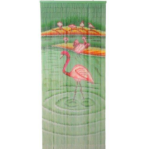 Bamboo54 Natural Bamboo Flamingoes Curtain Single Panel