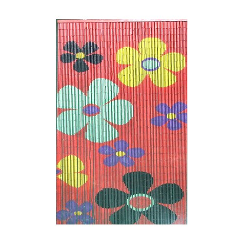 Bamboo54 Natural Bamboo Kids Flower Curtain Single Panel
