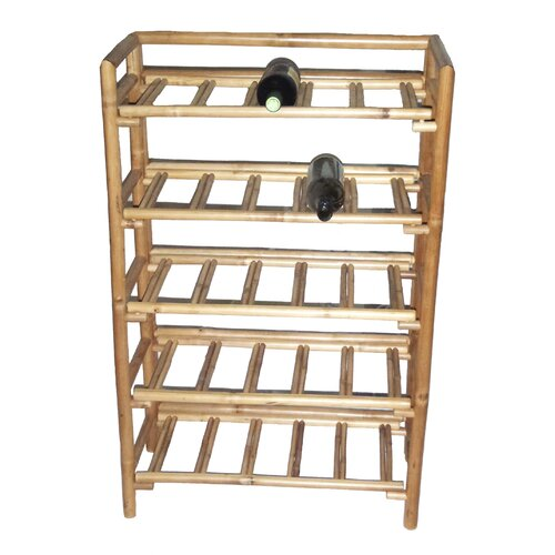 Natural Bamboo 25 Bottle Wine Rack