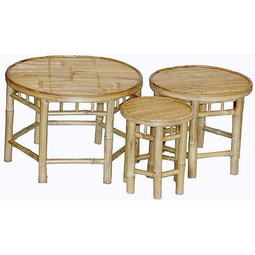 Bamboo54 Natural Bamboo 3 Piece Nesting Accent Stools Set