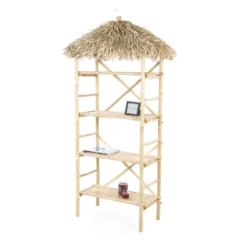 Bamboo54 Natural Bamboo 3 Tier Shelf with Palapa Roof