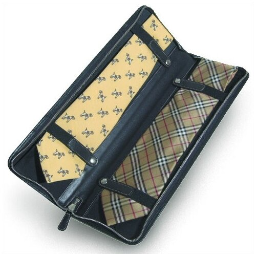 Clava Leather Quinley Travel Tie Case in Black