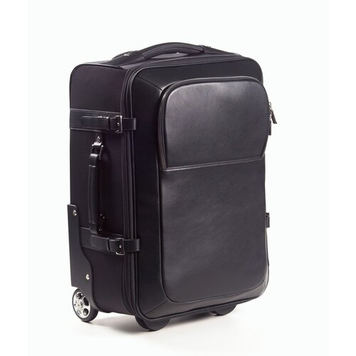Nylon and Leather Rolling Carry-on in Black