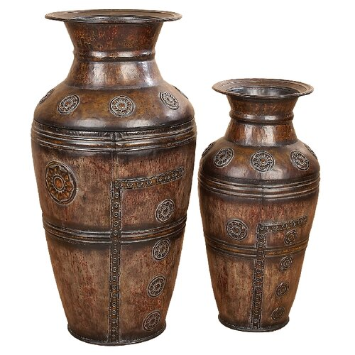 UMA Enterprises Toscana 2 Piece Carved Vase Set