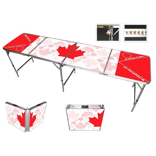 Red Cup Pong Canada Beer Pong Table in Black Aluminum