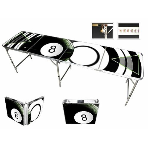 8 Ball Beer Pong Table with Black Aluminum Ball Rack
