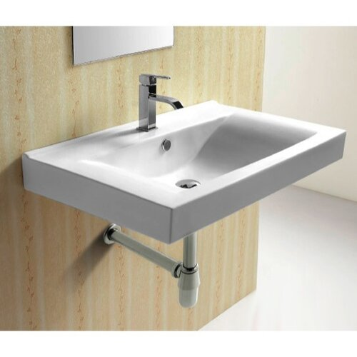 Ceramica Rectangular Wall Mounted Bathroom Sink