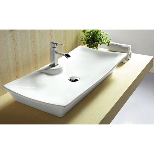 Ceramica Rectangular Single Hole Vessel Bathroom Sink with Faucet