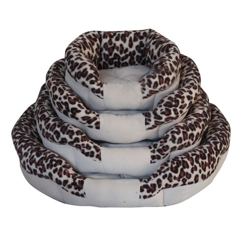 PetPals Bordered Animal Print Donut Dog Bed