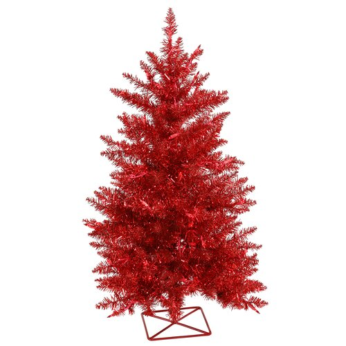 2 Red Artificial Christmas Tree With 35 Mini Single Tree With Colored Lights