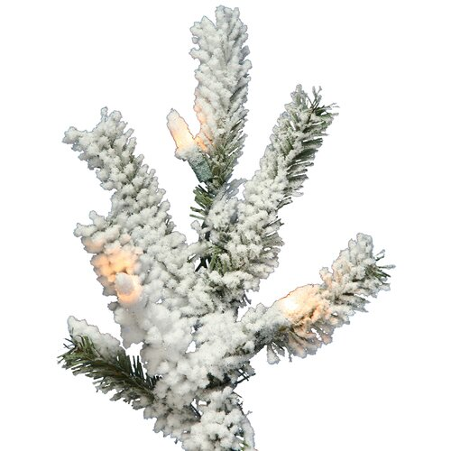 Vickerman Co. Flocked Alpine 6' White Artificial Christmas Tree with 200 Clear Lights with Stand