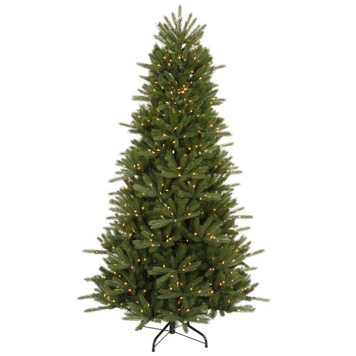 Vickerman Co. Vermont Instant Shape 7.5' Green Artificial Christmas Tree with 700 Clear Dura-Lit Mini Lights with Stand