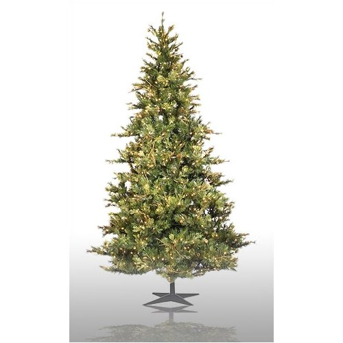 Country Pine 7.5' Green Slim Pine Artificial Christmas Tree with 650 Pre-Lit Clear Lights with ...