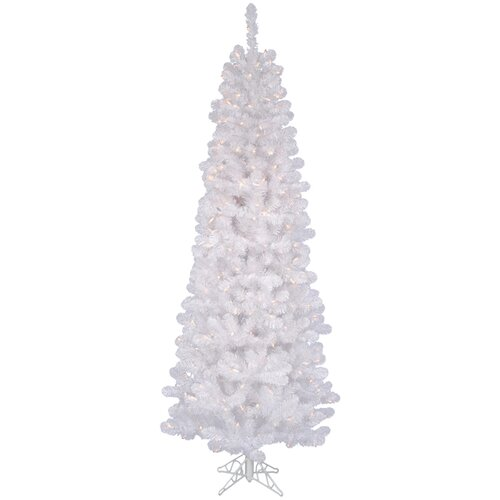 Vickerman Co. White Salem Pencil Pine 7.5' Artificial Christmas Tree with 350 Clear Lights with Stand