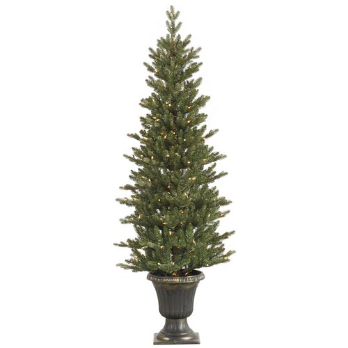 5' Green Slim Medium Noble Artificial Christmas Tree with 200 Clear Lights with Pot