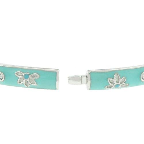 Icy Flower Bangle Bracelet in Light Blue