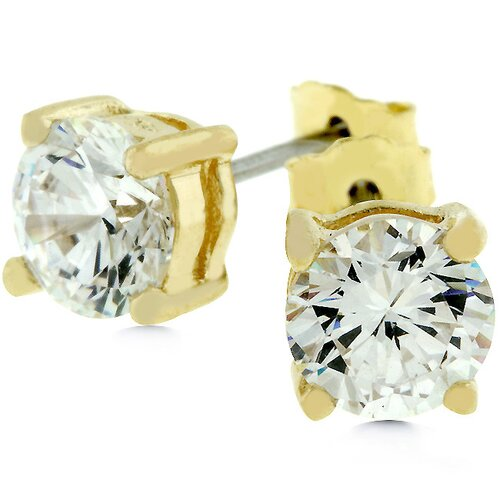 Kate Bissett Sterling Silver Cubic Zirconia Connie Stud Earrings