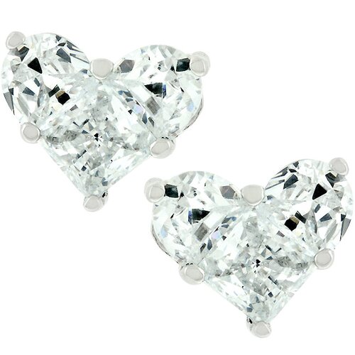 Kate Bissett Silver-Tone Heart Cubic Zirconia Stud Earrings