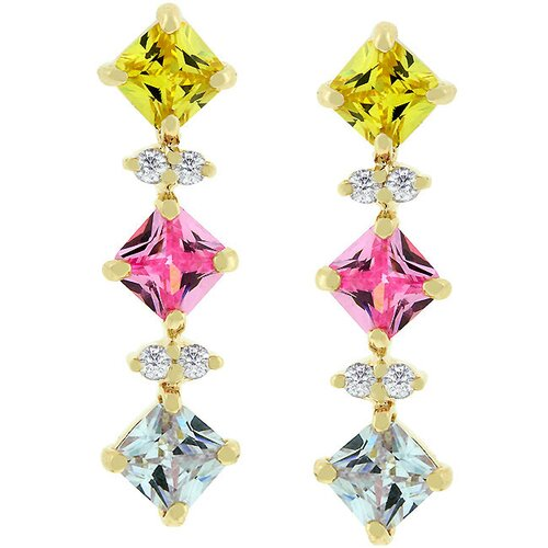 Gold-Tone Multi-Colored Cubic Zirconia Drop Earrings