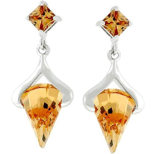 Kate Bissett Silver-Tone Champagne Cubiz Zirconia Multiple-Drop Earrings