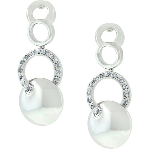 Silver-Tone Inscribed Circle Drop Cubiz Zirconia Earrings