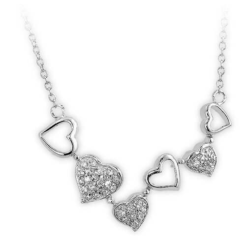 Kate Bissett Sterling Silver Pave Cubic Zirconia Heart Necklace