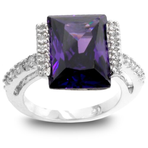 Silver-Tone Emerald Cut Purple Cubic Zirconia Ring