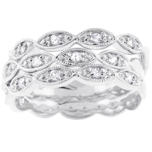 Kate Bissett Silver-Tone Three-Band Cubic Zirconia Eternity Bridal Ring