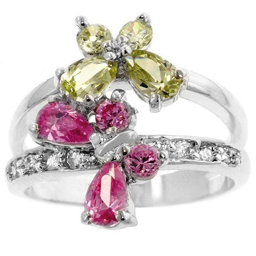 Kate Bissett Sterling Silver Pink and Yellow Cubic Zirconia Butterfly Ring