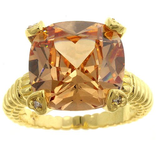 Kate Bissett Gold-Tone Champagne Cushion-Cut Cubic Zirconia Ring