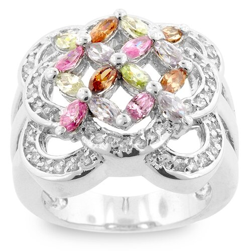 Kate Bissett Silver-Tone Multicolored Cubic Zirconia Flower Bouquet Ring