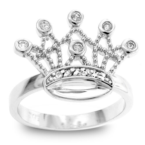 Kate Bissett Silver-Tone Clear Cubic Zirconia Crown Ring
