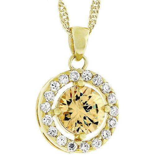 Gold-Tone Dark Champagne Cubic Zirconia Necklace