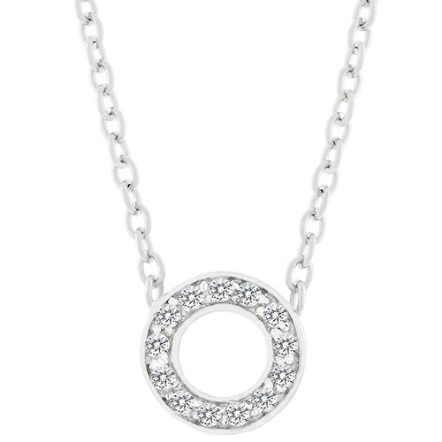 Kate Bissett Sterling Silver 'O' Cubic Zirconia Necklace