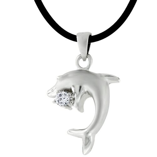 Kate Bissett Sterling Silver Cubic Zirconia Dolphin Necklace